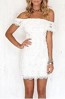 Lace Off Shoulder Flounce Bodycon Dress