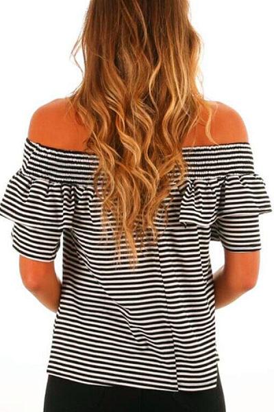 Off Shoulder  Flounce  Striped T-Shirts