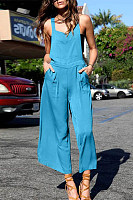Casual Pure Colour Sleeveless Off-Shoulder Jumpsuit
