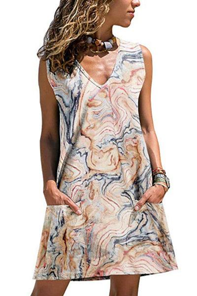 V Neck  Printed  Sleeveless Casual Dresses