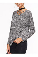 V-Neck Back Hole Batwing Sleeve T-Shirt