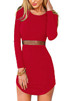 Round Neck  Asymmetric Hem See Through  Plain  Long Sleeve Bodycon Dresses