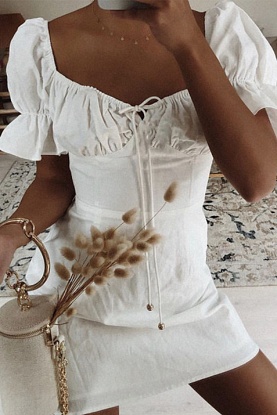 2019 Court Style Wild Tether White Dress