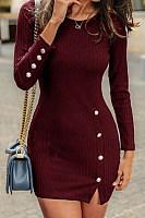 Over Single Breasted Long Sleeve Dresses Collar Bodycon Plain Fold target