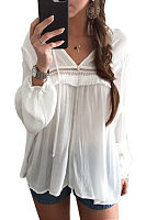 V Neck  Plain  Lantern Sleeve  Blouses
