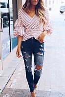 Surplice  Striped  Lantern Sleeve  Blouses