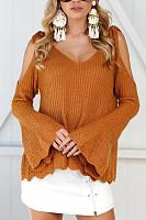 Spaghetti Strap  Plain  Bell Sleeve Sweaters