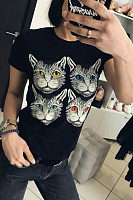 Round Neck Cat  Printed T-Shirts