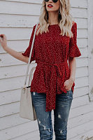 Round Neck  Belt  Dot  Bell Sleeve  Blouses