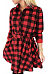 Turn Down Collar  Gingham  Long Sleeve Casual Dresses