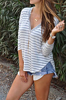 Hooded  Asymmetric Hem  Striped T-Shirts