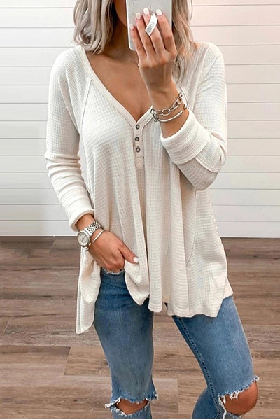 Brief Pure Color Long Sleeve V Neck T-Shirt