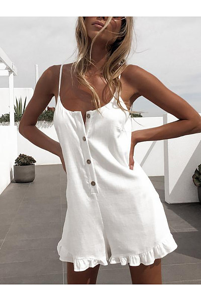 Sexy Sleeveless Off-Shoulder Single-Breasted Ruffled Romper