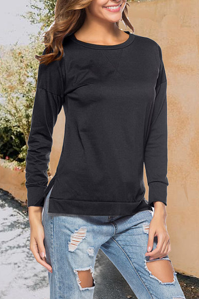 Round Neck  Side Slit  Plain T-Shirts