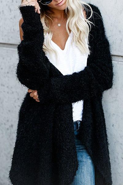 Collarless  Asymmetric Hem Snap Front  Plain Cardigans