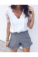 V-Neck  Lace Plain T-Shirts
