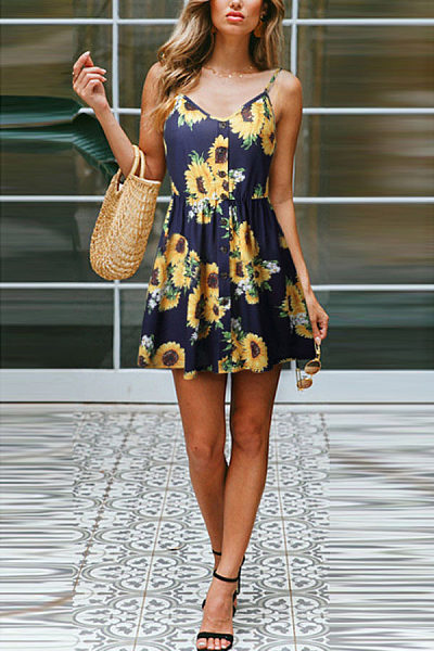 Spaghetti Strap  Single Breasted  Floral Printed  Sleeveless Casual Dresses