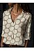 Casual Folded Collar Hexagon Print Long Sleeve Shirt