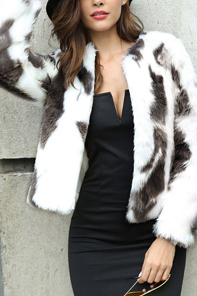 Faux Fur Collar  Leopard Printed Outerwear