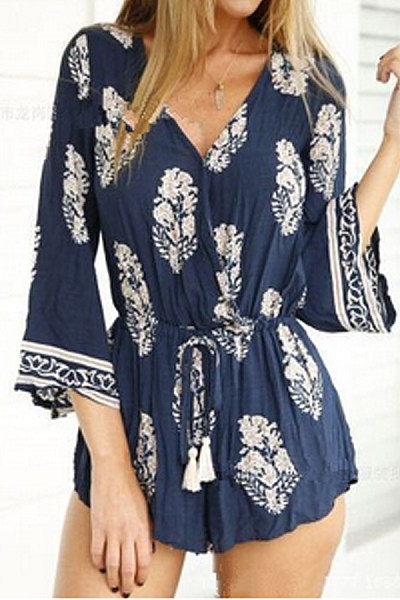 V Neck  Asymmetric Hem  Belt Loops  Bohemian Print  Bell Sleeve  Three Quarter Sleeve  Playsuits
