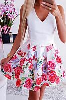V Neck  Printed  Sleeveless  Basic Skater Dresses