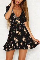 Deep V Neck  Floral Printed  Short Sleeve Casual Dresses