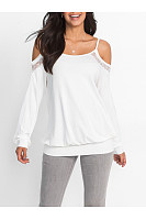 Open Shoulder Plain Hollow Out Long Sleeve T-Shirt