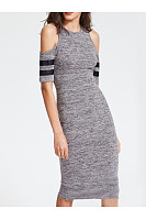 Round Neck  Plain Bodycon