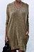 V Neck  Side Slit  Plain Casual Dresses