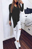 V Neck  Asymmetric Hem Lace Up Slit  Plain T-Shirts