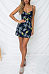 Spaghetti Strap  Bowknot  Printed  Sleeveless Bodycon Dresses