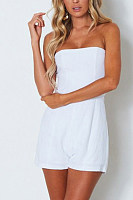 Strapless  Backless  Plain  Sleeveless  Playsuits