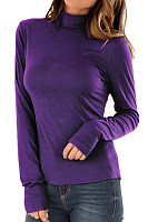 Casual High Collar Solid Color Long Sleeve T-Shirt