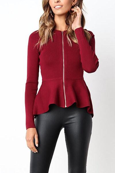 Zipper  Cascading Ruffles  Plain Jackets