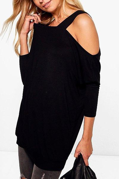 Open Shoulder Patchwork Plain Shirt