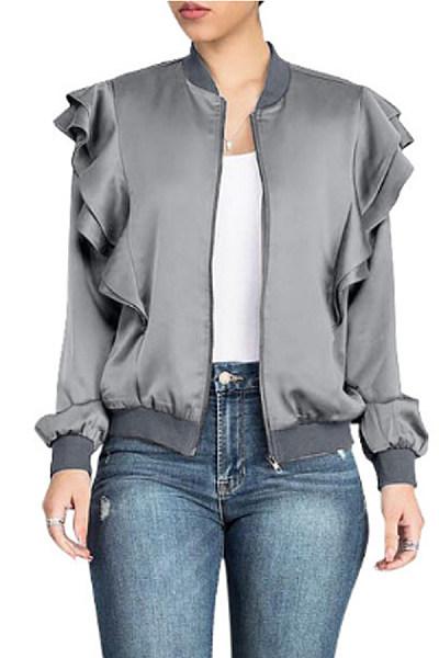 Band Collar  Flounce  Plain Jackets