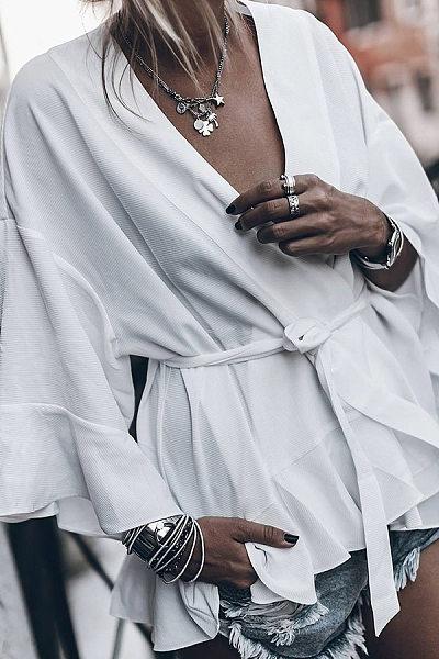 Casual V-Neck Solid Color Lace-Off Shoulder Flare Sleeve Long Sleeve Shirt