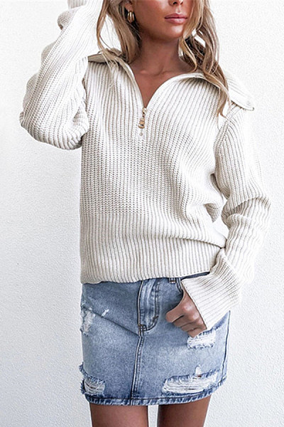 Lapel Zip-Knit Pullover Casual Sweater