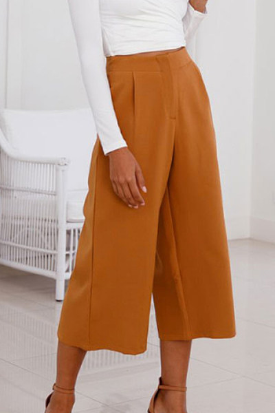 Polyester  Summer  Casual  Plain  Pants