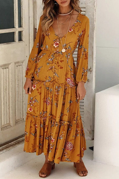 Deep V Neck  Single Breasted  Floral Printed  Long Sleeve Maxi Dresses