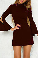 High Neck  Zipper  Plain  Bell Sleeve  Long Sleeve Bodycon Dresses