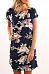 Round Neck  Floral Printed  Roll Up Sleeve  Short Sleeve Casual Dresses