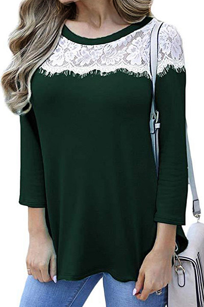Round Neck Lace Patchwork Long Sleeve T-Shirts