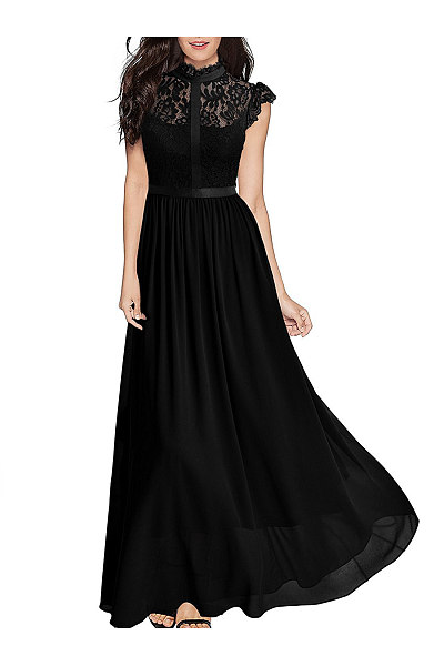 Band Collar See-Through Plain Chiffon Swing Maxi Dress