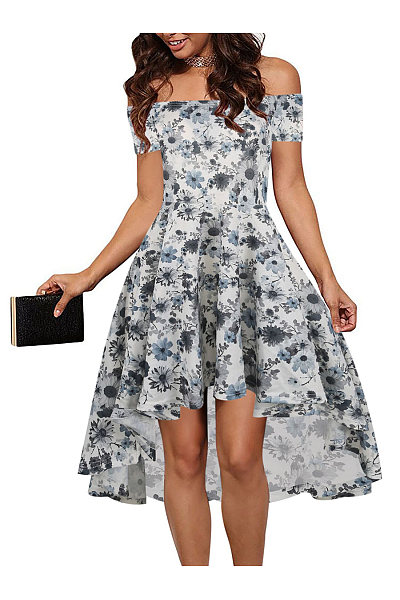 Off Shoulder High-Low Skater Dress In Floral Printed