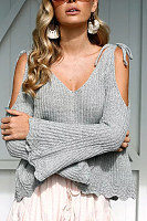 Spaghetti Strap  Plain  Bell Sleeve Sweaters