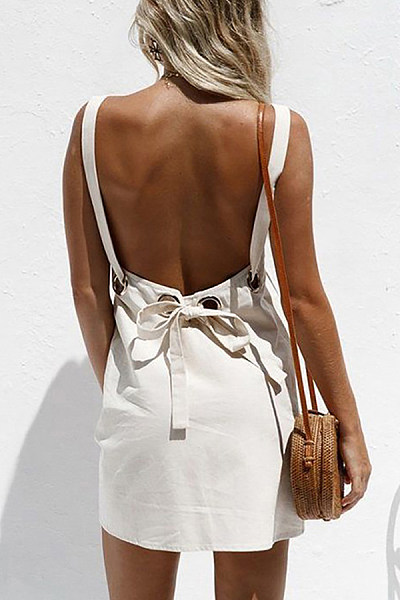 Open Back Sexy Bow Dress