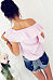 One Shoulder  Flounce Single Breasted  Striped  Blouses