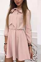 Bow Collar  Elastic Waist  Plain  Long Sleeve Skater Dresses