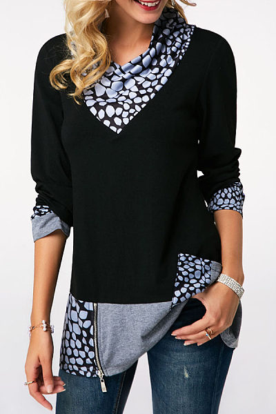 Turtle Neck  Zipper  Patchwork T-Shirts